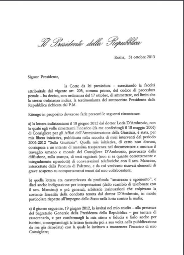 Lettera Napolitano ai giudici di Palermo