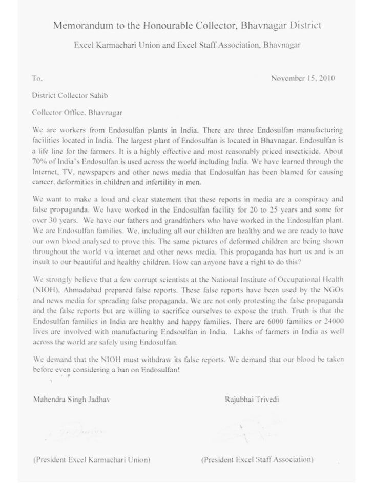 Letter by the endosuflan workers in protest of the ban