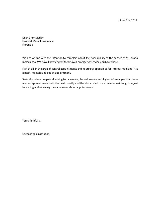 complaining letter