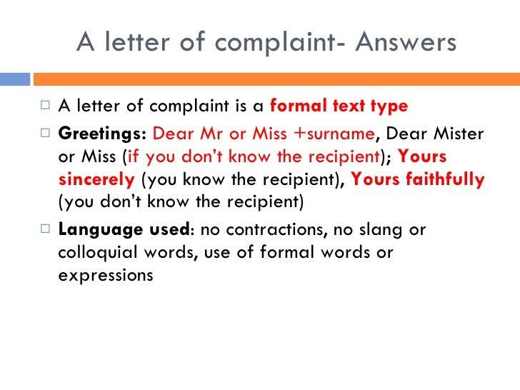 Letter of complaint essay