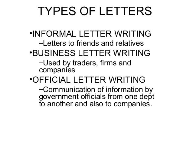 what is letter writing and its types