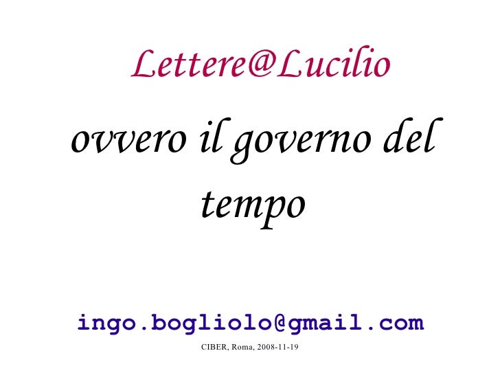 [email_address] ovvero il governo del tempo [email_address]