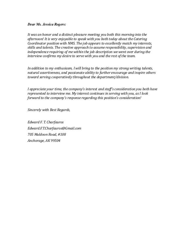 Letter, email interview thank you. Copyright 2013 Edward F. T. Char…