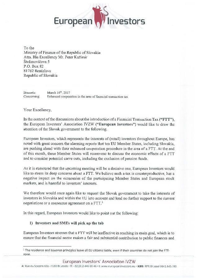 Letter european investors government of the slovak republic spiritdancerdesigns Images