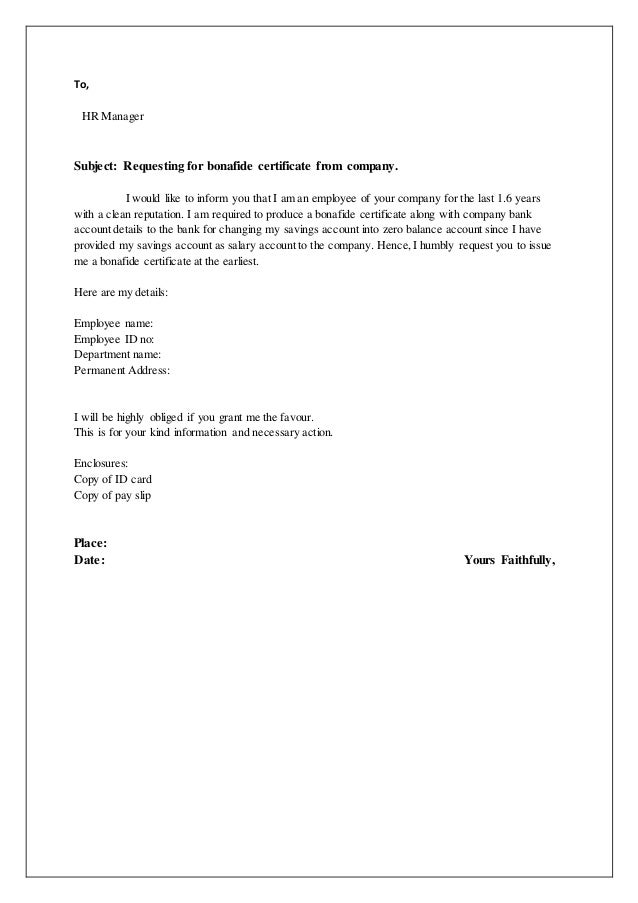 how to write bonafide letter for bank account
