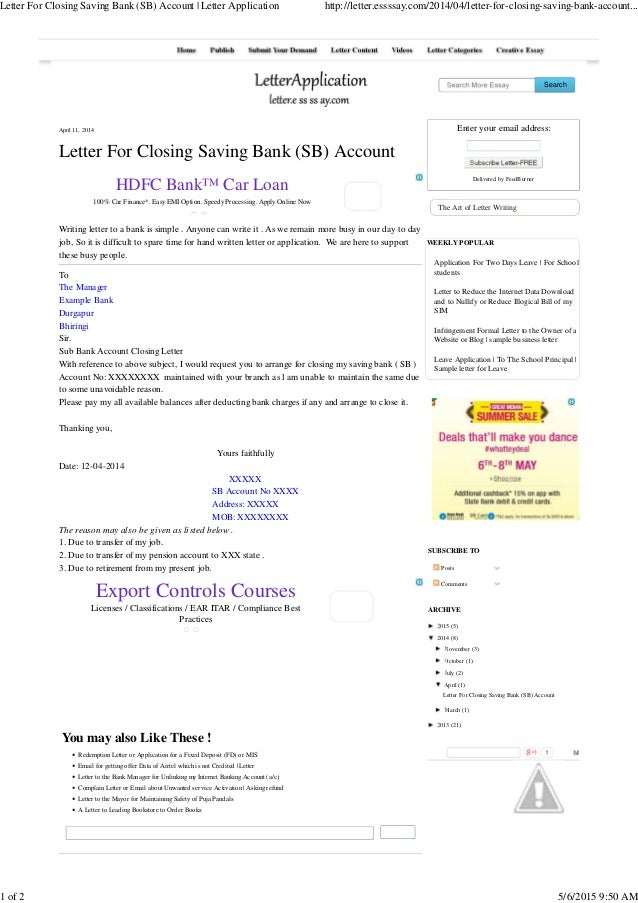 Search April 11, 2014 Letter For Closing Saving Bank (SB) Account Writing  Letter ...