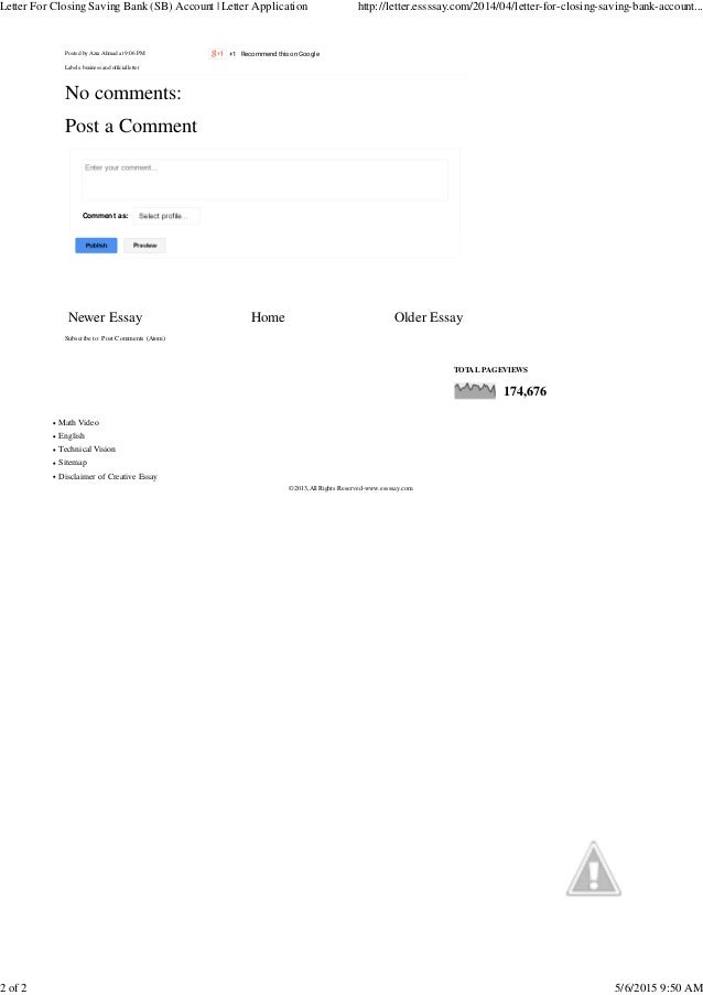 closure of bank account request letter
