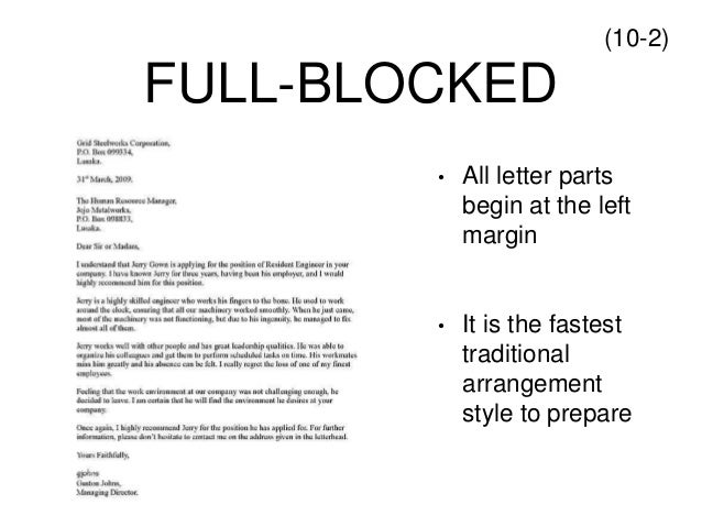 traditional business letter format