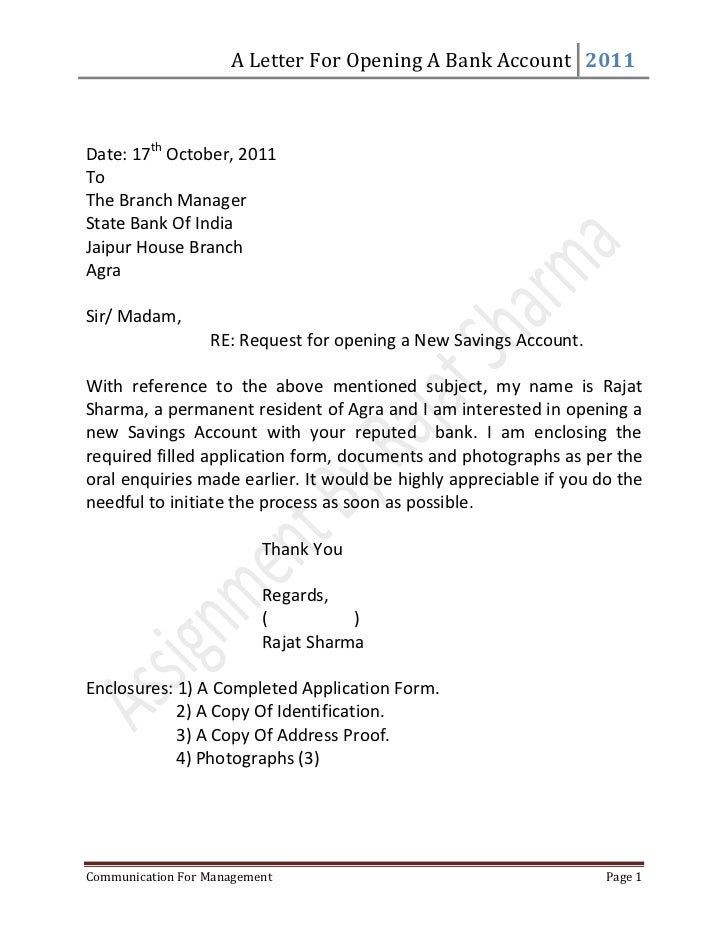 Letter for opening a bank account – Bank Application