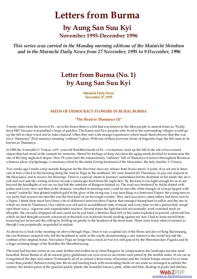 Letters From Burma Letter By Aung San Suu Kyi Seeds Of Democracy Flo Letters From Burma By Aung San Suu Kyi November December  This  Series Was  Essay In English Literature also Business Studies Essays Proposal Essay Sample