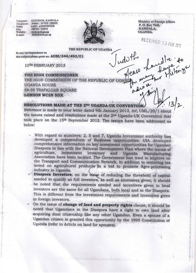 Letter from Permanet Secretary Uganda Ministry of Foreign Affairs