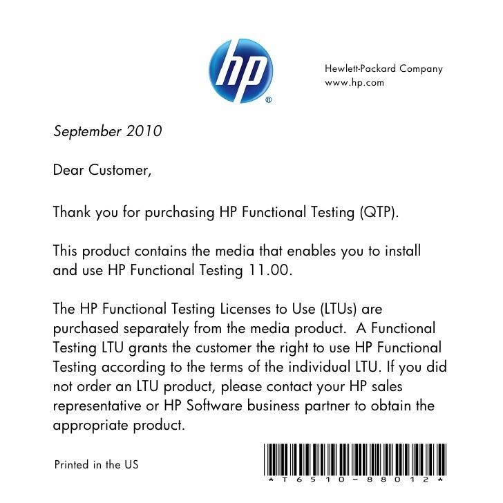 Hewlett-Packard Company                                            www.hp.comSeptember 2010Dear Customer,Thank you for pur...