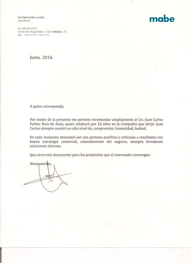 Letter luis berrondo ceo and chairman of the board