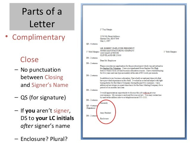 Parts Of Block Letter With Student Notes