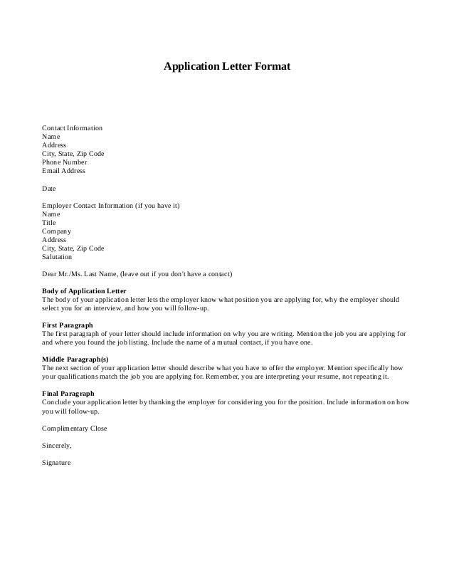 Letter of applicationExample