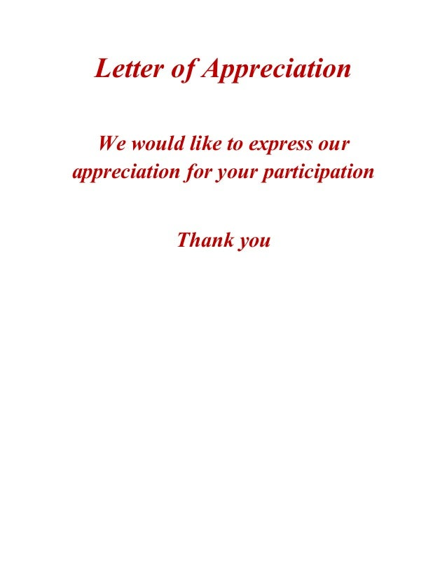 Letter Of Appreciation We Would Like To Express Our Appreciation – Thank You Letter for Appreciation