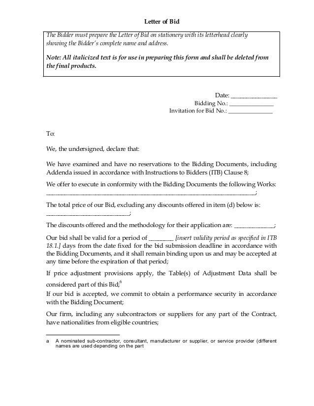 letter of bid, Invitation templates