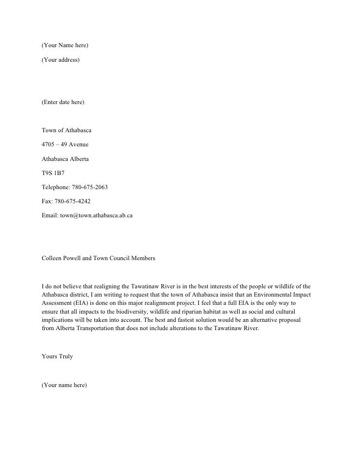 Letter of Complaint to the Council