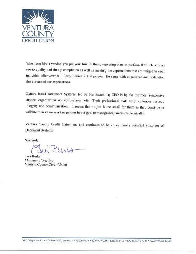 Letter of Recommendation Ventura County Credit Union