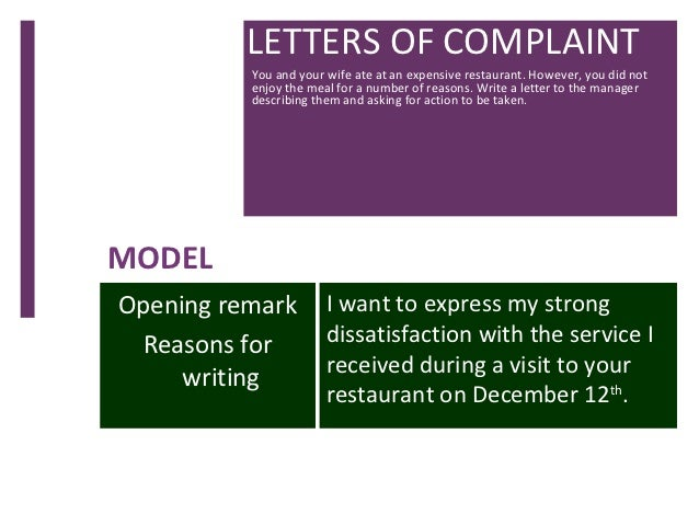 Letter of complaint letters of complaint you and your spiritdancerdesigns Images