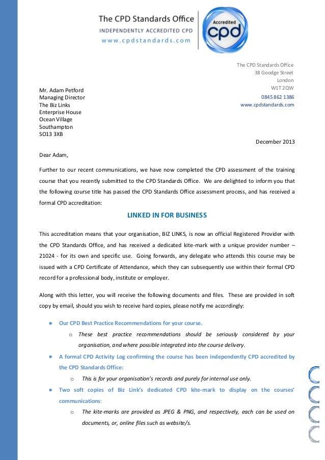 confirming letter