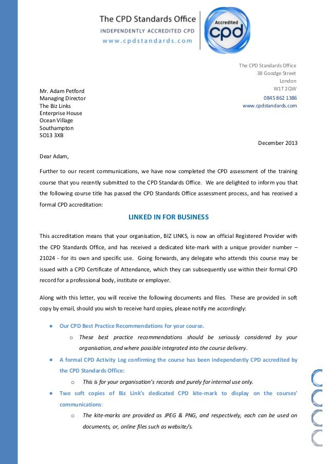 Letter Of Cpd Confirmation