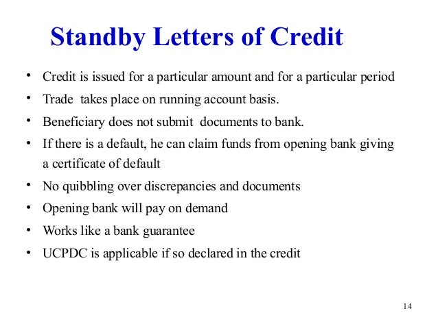 13. 14 Standby Letters Of Credit ...