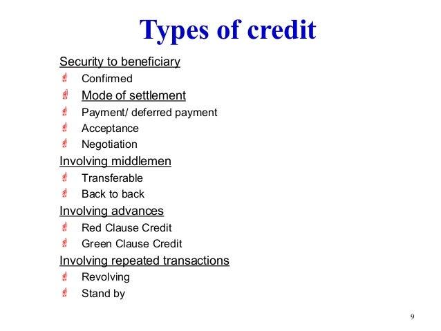 ... Reimbursing Bank; 8. 9 Types Of Credit ...