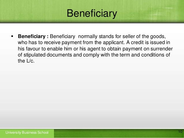 Letter of credit beneficiary beneficiary yadclub Image collections