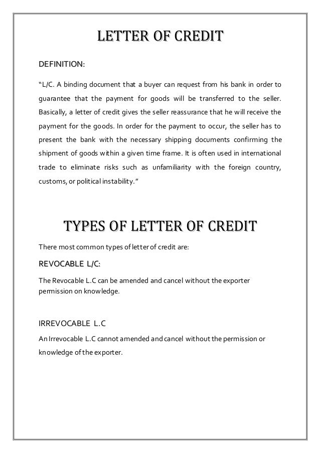 letter of credit letter of credit report 947