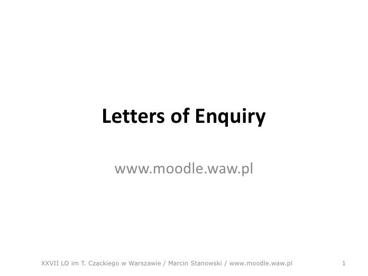 Letter of enquiry – Letter of Inquiry