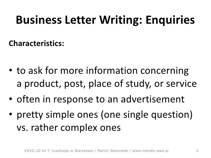 Letter of enquiry – Example of Inquiry Letter for Product