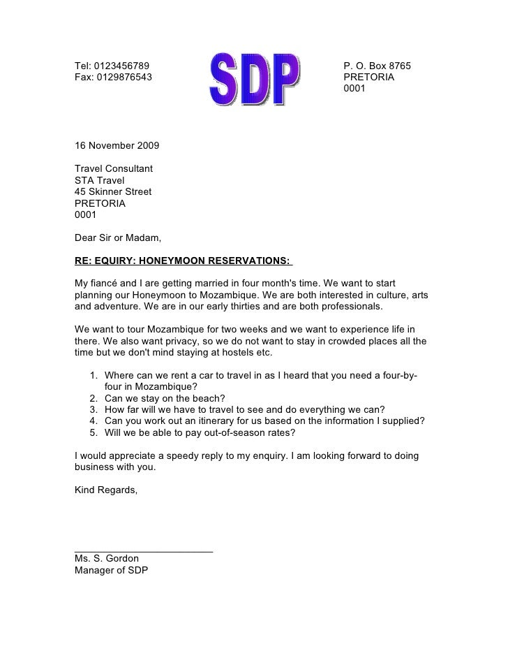 Business Letter Regarding