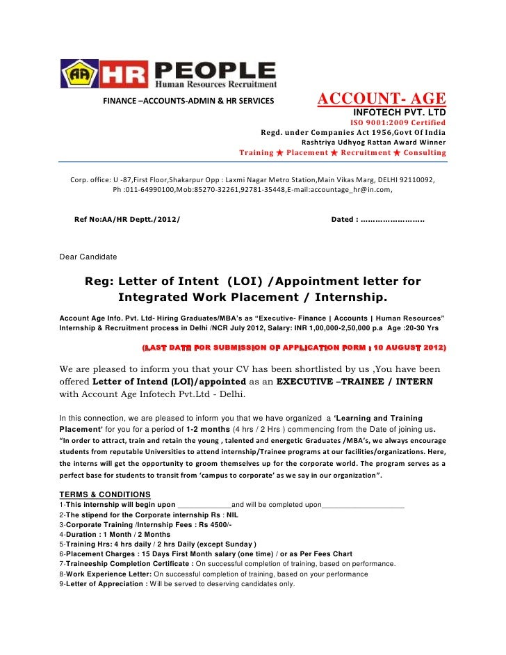 consultant offer letter template - letter of intent loi appointment letter