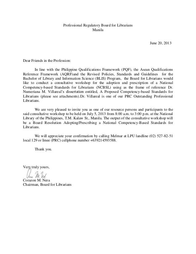 Letter of invitation letter of invitation professional regulatory board for librarians manila june 20 2013 dear friends in the profession stopboris Image collections