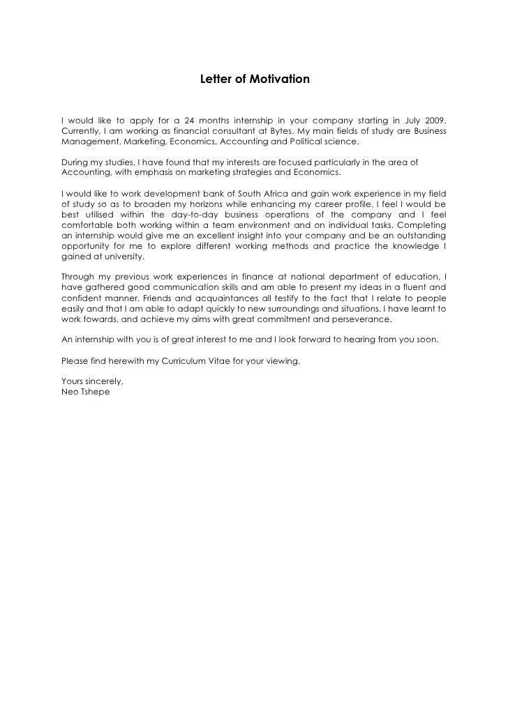 Letter Of Motivation Of Neo Tshepe