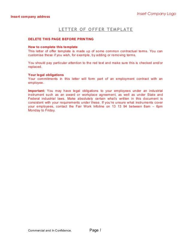 letter of offer template. Black Bedroom Furniture Sets. Home Design Ideas