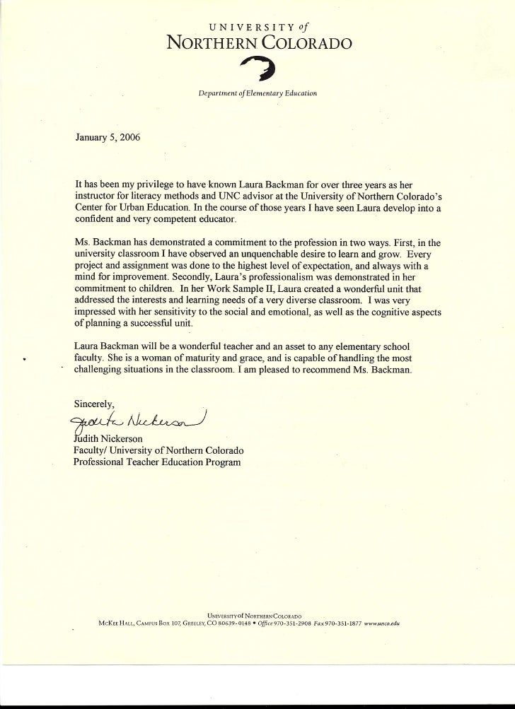 letter of recommendation from judith nickerson faculty of