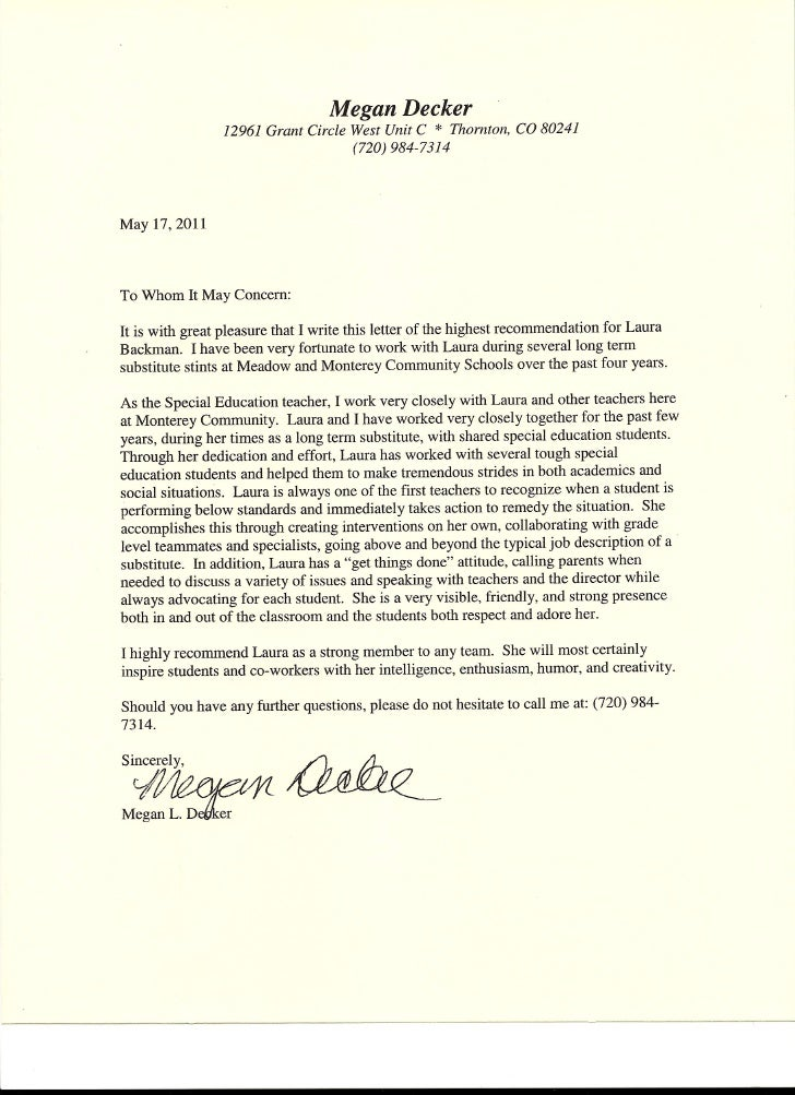 Letter of Recommendation from Special Education Teacher from Megan De ...