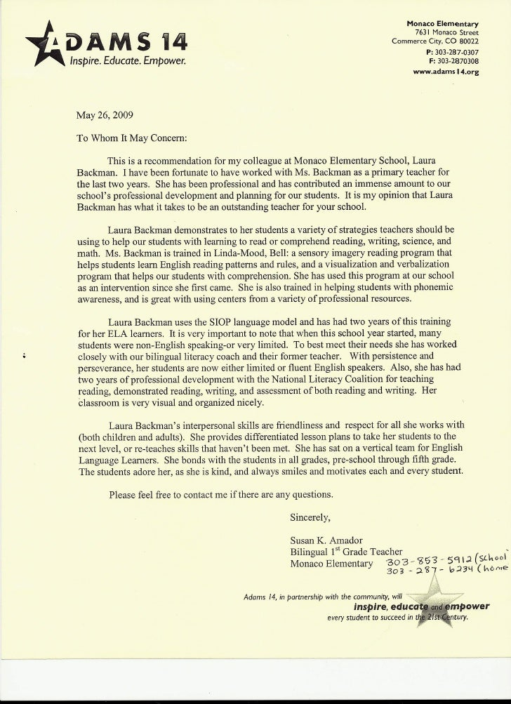 Letter of Recommendation from Elementary school Teacher Susan K. Amad ...