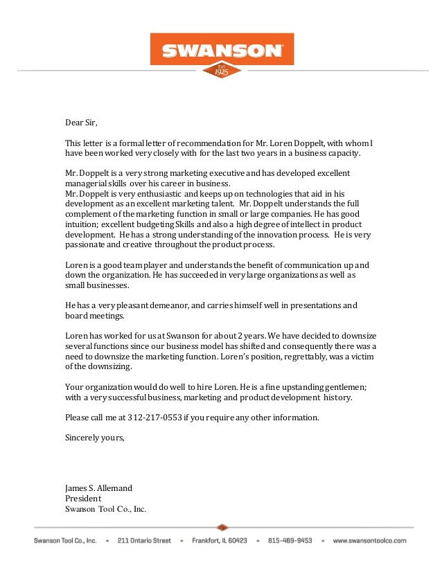 Dear Sir, This Letter Is A Formal Letter Of Recommendation For Mr. Loren  Doppelt