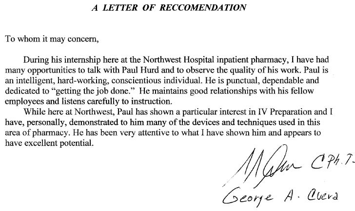 Recommendation letter pharmacy