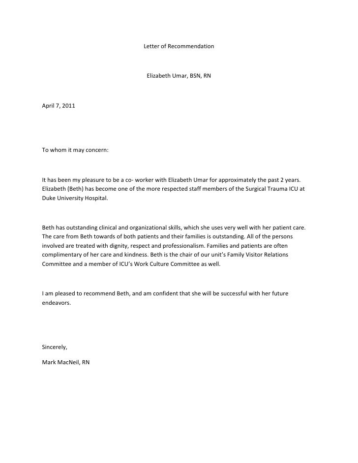 Co-Worker Reference Letter