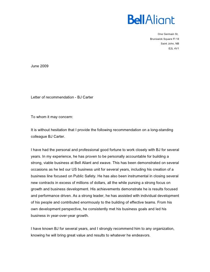 recommendation letter from colleague
