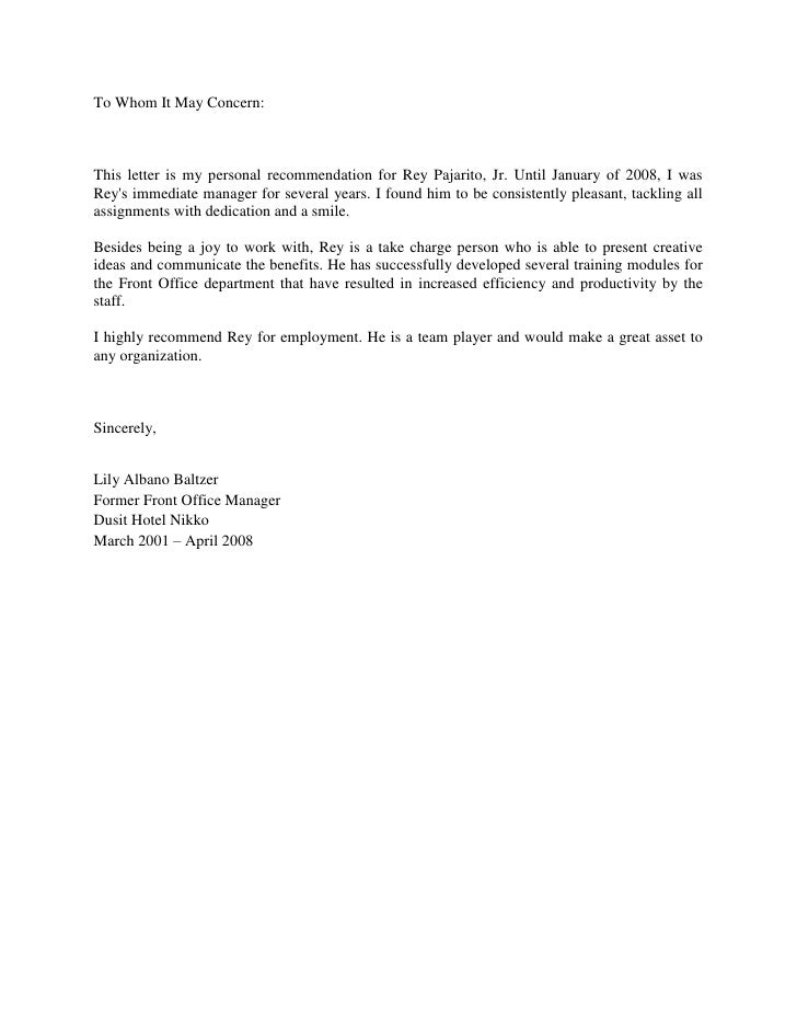Letter Of Recommendation From Ms Lily Albano Baltzer
