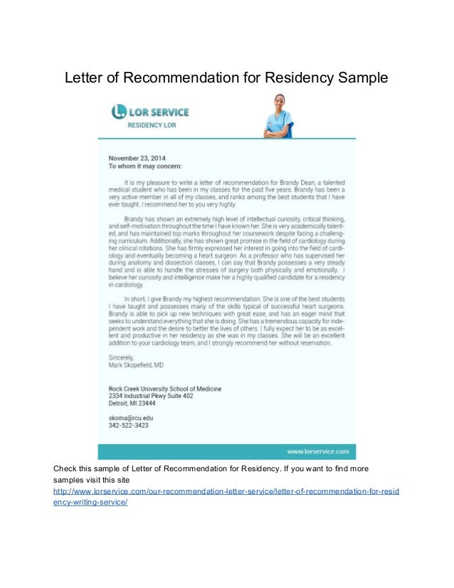 Samples of letter of recommendation letter of recommendation for residency sample spiritdancerdesigns Choice Image