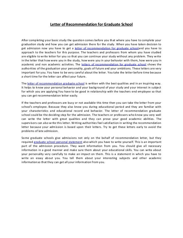 Letter of recommendation for graduate school 38