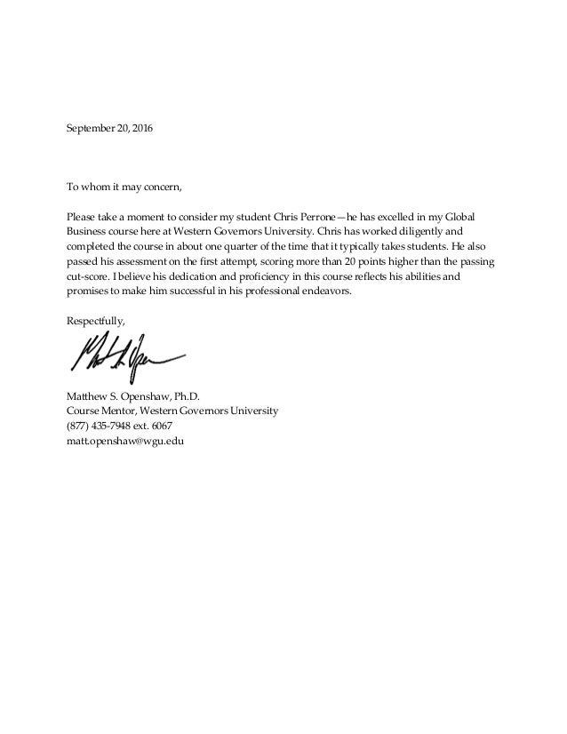 Letter Of Recommendation Global Business