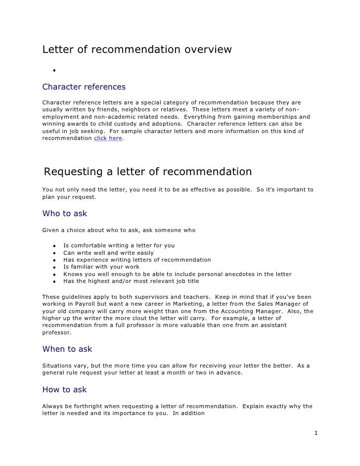Letter Of Recommendation Overview Character References Character Reference  Letters Are A Special Category Of Recommendat.
