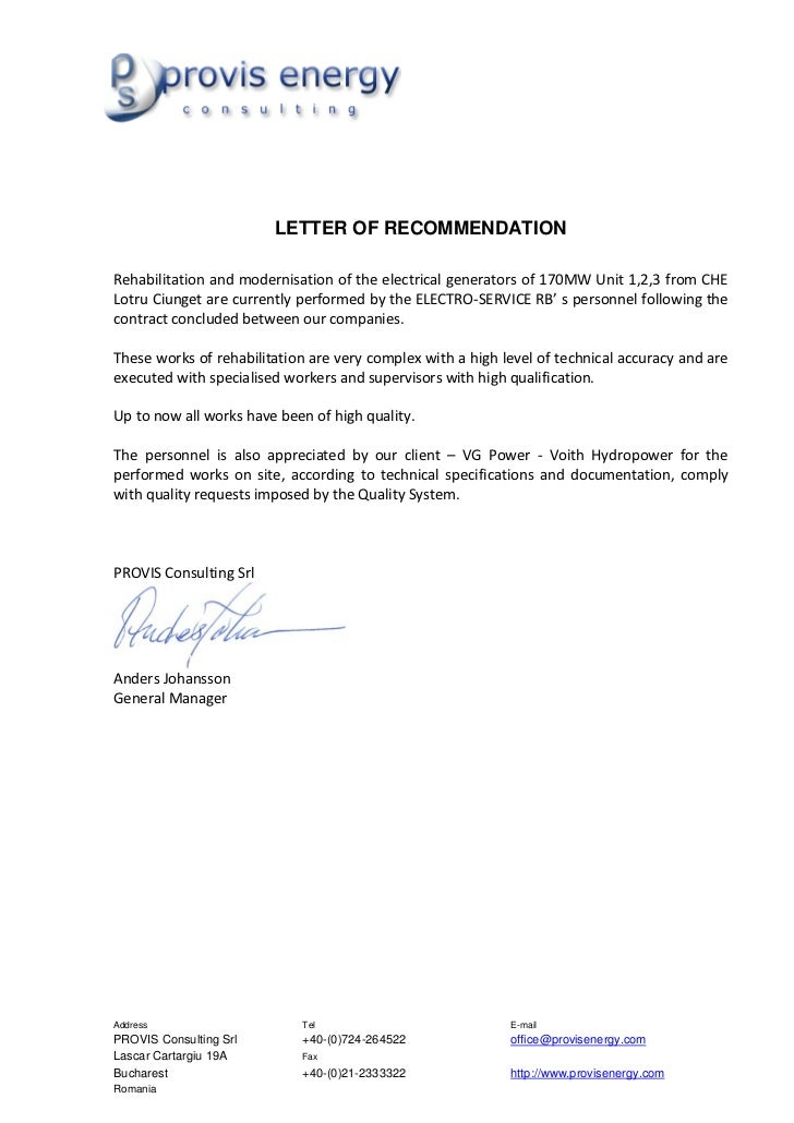 LETTER OF RECOMMENDATIONRehabilitation and modernisation of the electrical generators of 170MW Unit 1,2,3 from CHELotru Ci...